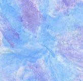 Waterverf op papier In Blauw en Purper stock foto