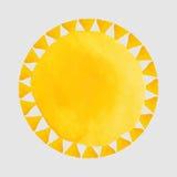 Waterverf oranje vlekken en zon - illustratie Stock Foto