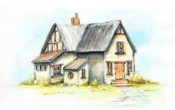 Waterverf oud huis op een groen gazon royalty-vrije illustratie