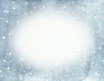 Waterverf ovaal kader met blauwe gradiëntachtergrond en sneeuwval stock illustratie