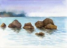 Waterverf overzees stenen en water Stock Afbeelding