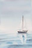 Waterverf overzeese ochtend een boot Royalty-vrije Stock Afbeeldingen