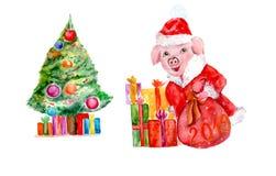 Waterverf piggy symbool van het Nieuwjaar in het beeld van Santa Claus royalty-vrije illustratie