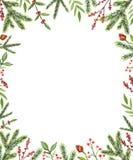Waterverf rechthoekig kader met Kerstmissamenstellingen royalty-vrije illustratie
