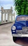 Waterverf retro auto Hand getrokken uitstekende illustratie met auto, stad en boom Voor ontwerp, textiel en achtergrond stock illustratie