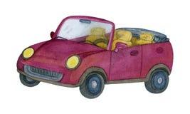 Waterverf Rode Auto Met de hand gemaakte illustratie royalty-vrije illustratie