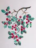 Waterverf rode bessen Royalty-vrije Stock Afbeeldingen
