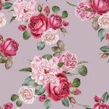 Waterverf rode rozen en pioenen Naadloos patroon Stock Afbeelding