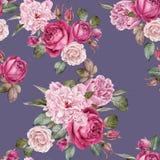 Waterverf rode rozen en pioenen Naadloos patroon Royalty-vrije Stock Foto's
