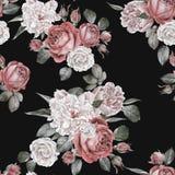Waterverf rode rozen en pioenen Naadloos patroon Stock Afbeeldingen