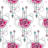 Waterverf Rose Seamless Pattern Royalty-vrije Stock Foto's
