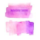 Waterverf roze banners geplaatst die op witte vector worden geïsoleerd als achtergrond Royalty-vrije Stock Foto's