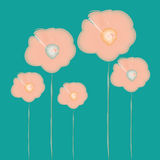 Waterverf Roze Bloemen Royalty-vrije Stock Afbeeldingen