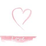 Waterverf roze hand getrokken hart Royalty-vrije Stock Afbeeldingen