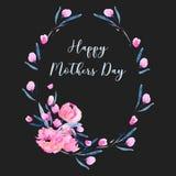 Waterverf roze papavers en de bloemengrens van het takken ovale die kader, hand op een donkere achtergrond wordt getrokken Royalty-vrije Stock Fotografie