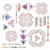 Waterverf stammendieelementen voor etnisch ontwerp worden geplaatst Stock Afbeelding