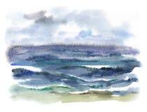 Waterverf stormachtige overzees Stock Afbeeldingen