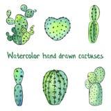 Waterverf succulente reeks met groene die cactussen op wit wordt geïsoleerd Royalty-vrije Stock Afbeeldingen
