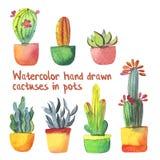 Waterverf succulente reeks met groene en geeloranje die cactussen en succulent in potten op wit worden geïsoleerd Royalty-vrije Stock Afbeeldingen