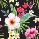 Waterverf tropisch bloemenpatroon stock illustratie
