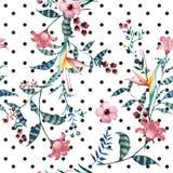 Waterverf tropisch bloemenpatroon op stip Royalty-vrije Stock Afbeelding