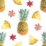 Waterverf tropisch naadloos patroon met ananas op een witte achtergrond vector illustratie