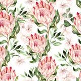 Waterverf tropisch patroon met hibiscus en proteabloemen vector illustratie