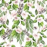 Waterverf tropisch patroon met hibiscusbloemen en groene bladeren Bij en drfagonfly vector illustratie