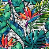 Waterverf tropische bladeren en bloemen met contour naadloos patroon vector illustratie