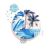 Waterverf tropische bloemen geometrische die vormen op witte achtergrond worden geïsoleerd stock illustratie