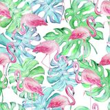 Waterverf tropische flamingo pattern2 royalty-vrije illustratie