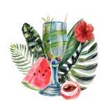 Waterverf tropische illustratie met de zomercocktail, vruchten en bloemen royalty-vrije illustratie
