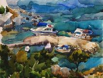 Waterverf turkooise haven met jachten in de baai van Rhodos stock illustratie