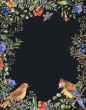 Waterverf uitstekend bloemen bos verticaal kader met paar vogels, spartakken, bessen, mot, bloemen en takken stock illustratie
