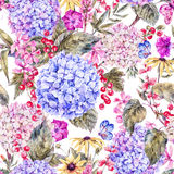 Waterverf uitstekend bloemen naadloos patroon stock illustratie