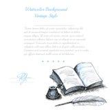 Waterverf uitstekende achtergrond met inktpotboek of nota en veer Stock Afbeelding