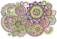 Waterverf uitstekende bloemenkaart Stock Afbeelding