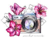 Waterverf uitstekende camera met bloemen stock illustratie