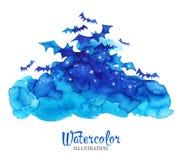 Waterverf uitstekende wolken met knuppels Gemakkelijk om Vectorbeeld uit te geven stock illustratie
