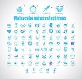 Waterverf universele vastgestelde pictogrammen op witte vectorillustratie als achtergrond Royalty-vrije Stock Foto