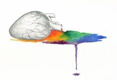 Waterverf van de hart de aftappende regenboog Royalty-vrije Stock Foto's