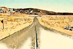 Waterverf van een weg in een woestijn stock afbeeldingen