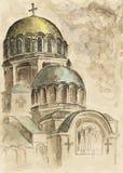 Waterverf van kathedraal stock foto's