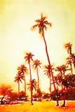 Waterverf van palmen op een strand Stock Fotografie