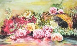 Waterverf van rozen Royalty-vrije Stock Fotografie