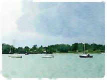 Waterverf van varende boten bij anker Stock Fotografie