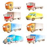 Waterverf vastgestelde inzameling van voertuigenvrachtwagens, vrachtwagens, bestelwagens in verschillende kleuren, type en classi royalty-vrije stock foto's
