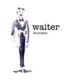 Waterverf vectorillustratie van kelner Stock Foto