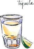Waterverf vectortequila met kalk Stock Foto