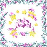 Waterverf vierkant kader met bladeren, bessen en reeks beeldverhaalsterren in warme doeken Nieuw jaar Vrolijke Kerstmis Royalty-vrije Stock Foto